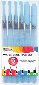 U.S. Art Supply 6-Piece Water Coloring Brush Pen Set (Sizes - 01, 02, 03, 04, 07,& 10) - Refillable, Watercolor, Calligraphy, Painting