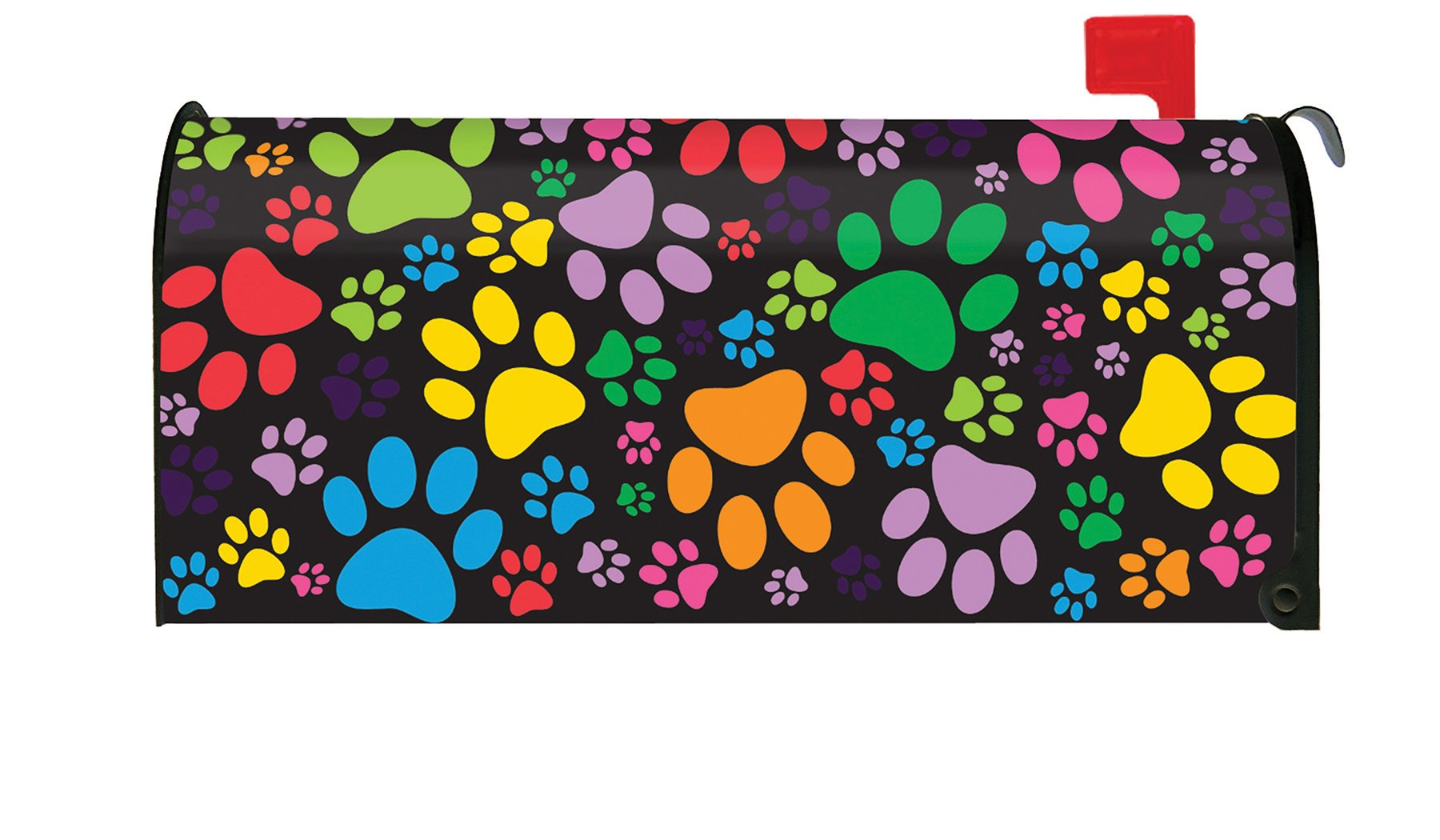 Toland Home Garden Puppy Paws Colorful Dog Paw Collage Magnetic Mailbox Cover