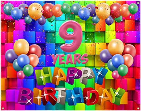 9th Happy Birthday Banner,9th Birthday Decorations for Boys,Birthday Gifts for 9 Year Old Boys,9th Birthday Party Supplies Photo Backdrop Yard Sign,Blue Golden Balloons Extra Large 72.8 x 43.3 Inch