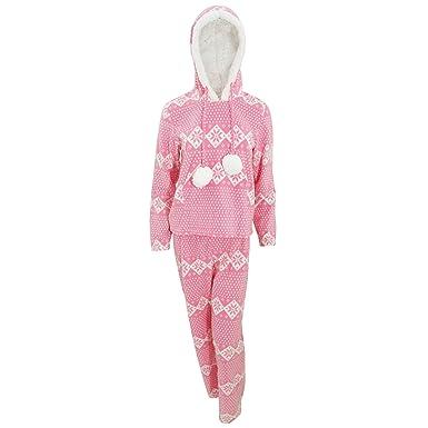 dbd16cf97da5 Selena Secrets Womens Ladies Christmas Fairisle Winter Hooded Pyjama Top  Bottoms Set  Amazon.co.uk  Clothing