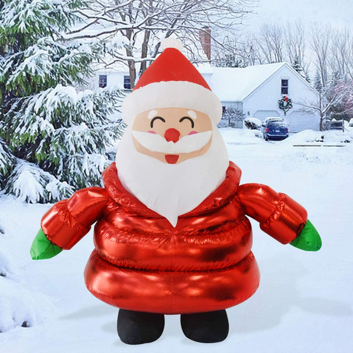 GOOSH 5Foot High Christmas Inflatable Blow up Down-Filled Coat Santa Claus Holiday Yard Decoration, Indoor Outdoor Garden Christmas Decoration.