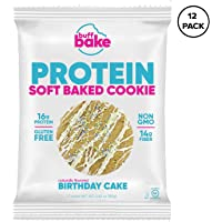 Buff Bake Protein Cookies, 16 Grams of Whey Protein, Gluten Free - Birthday Cake, 960 Grams (Pack of 12)