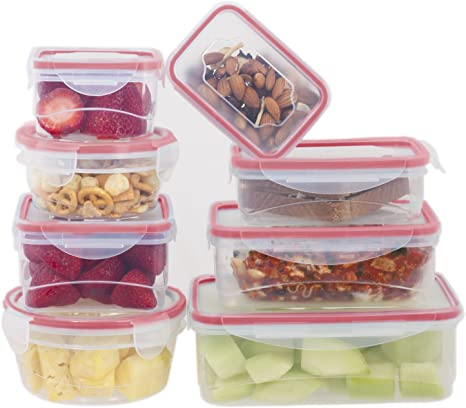 Amazon Com 8 Pc Plastic Food Storage Container Set Multi Size Food Containers With Locking Lids Bpa Free Microwave Safe Red Durable Plastic Container With Locking Lids Kitchen Dining