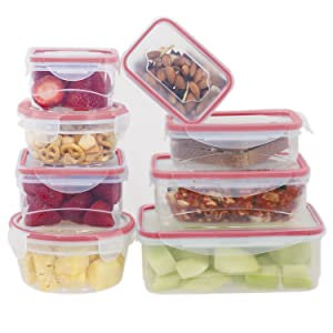BENTO Food Storage Container Set for the Kitchen - 16 pcs with Red Plastic Airtight and Leak Proof Lids | Ideal as Kids Lunch Box & Dog/Pet Food Containers | Microwave & Dishwasher Safe