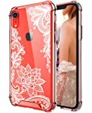 Cutebe Case for iPhone XR, Shockproof Series Hard PC+ TPU Bumper Protective Case for Apple iPhone XR 6.1 Inch 2018 Release Crystal Lace Design