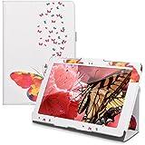 kwmobile Housse en cuir synthétique chic pour > Asus ZenPad 10 < en multicolore rose foncé blanc avec fonction support pratique et Design nuée de papillons