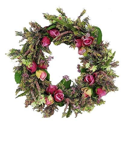 Exceptionnel Fantazzy Wild Rose Spring Door Wreath 20 Inch  Beautiful Silk Front Door  Wreath For Spring