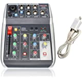 Audio USB Mixer with Effects, 4-Channel, 3-Band EQ, USB Powered, USB Audio Interface to PC and Portable Feature, Ideal…