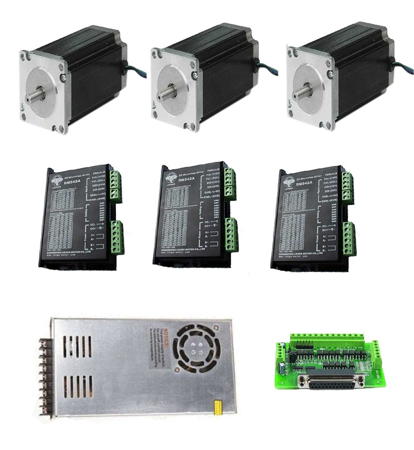 Dc House 3 Axis Nema 23 Stepper Motor 425oz In Cnc Controller Kit Wiring Diagram 23hs9430 Longs