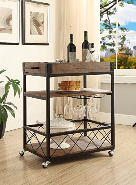 Vintage Brown Black Metal Industrial Style 3 Tier Serving Wine Tea Dining Kitchen  Cart With