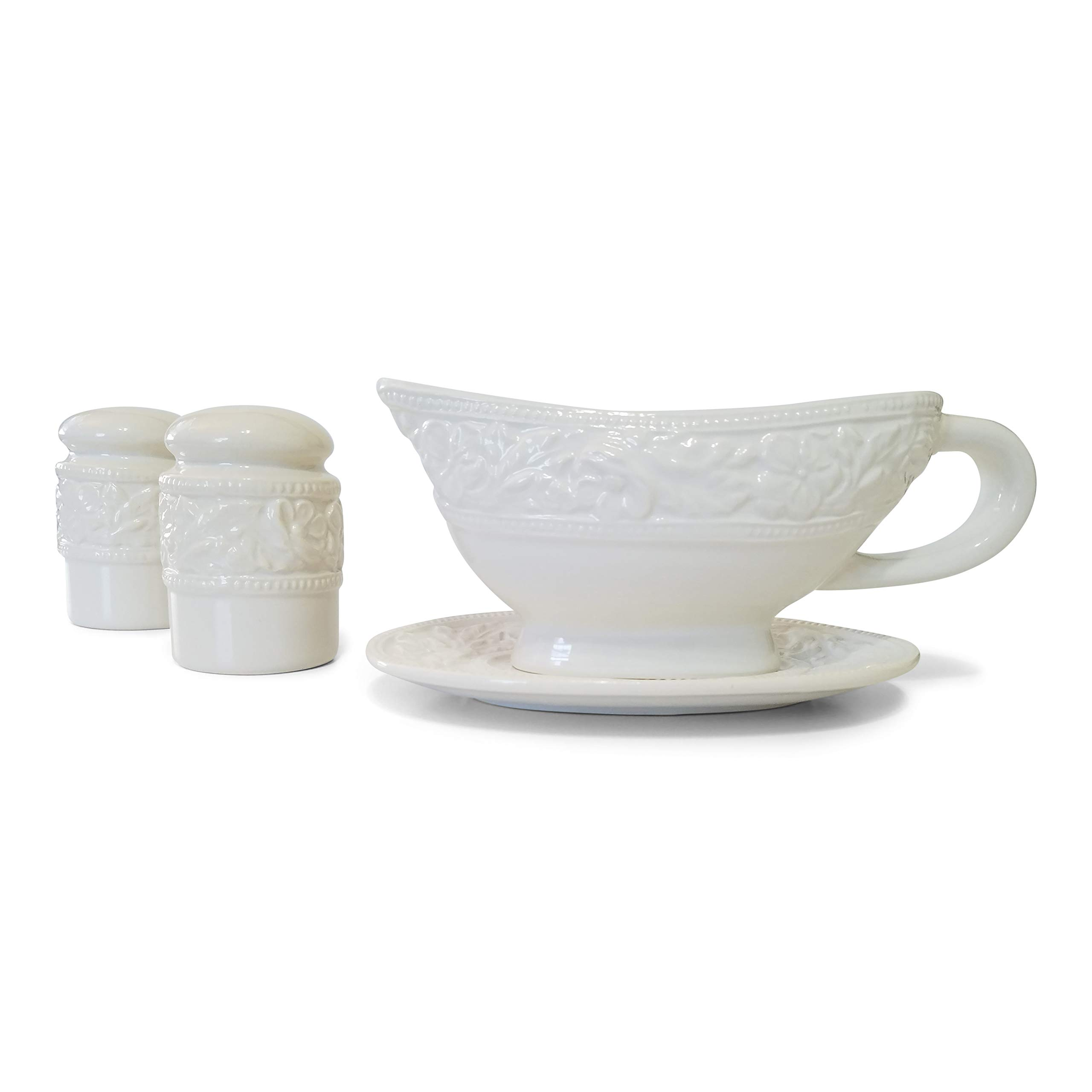 Gravy Boat Salt and Pepper Shaker Set - 1 Set Gravy Serving Dishes | 1 Set of Salt and Pepper Shakers