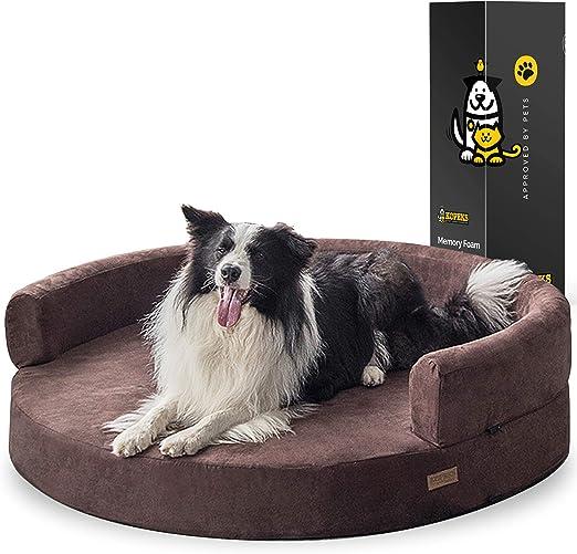Kopeks Deluxe Orthopedic Memory Foam Round Sofa Lounge Dog Bed Jumbo Xl Brown Model Round Sofa Xl Pet Supplies