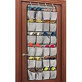 Unjumbly Over the Door Shoe Organizer, 24 Large Pocket Shoe Rack Over the Door Complete with 4 Strong Metal Over Door Hooks