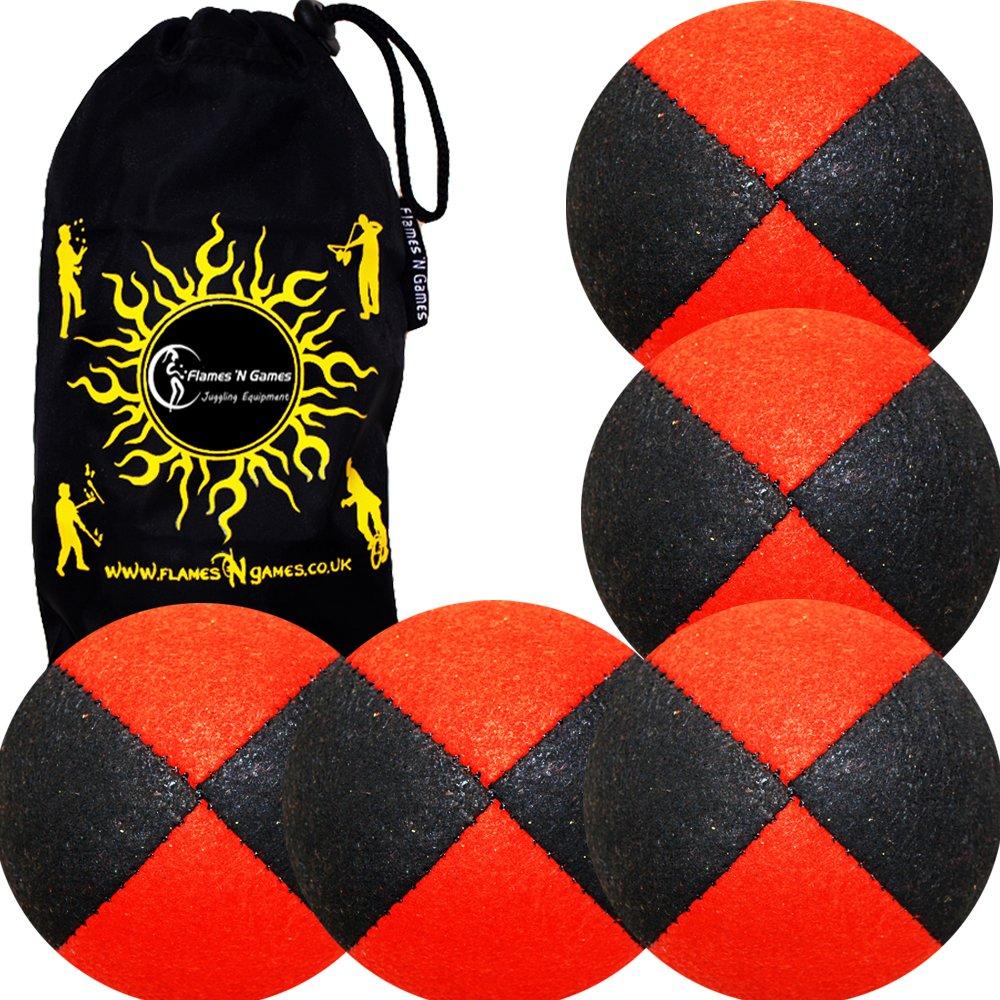 5x Balles de Jonglage Orange Super Doux Velour Pro Jonglerie Balle set 7 options de couleur Sac de transport!