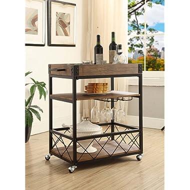 Vintage Brown Black Metal Industrial Style 3-tier Serving Wine Tea Dining Kitchen Cart with Bottle Holder