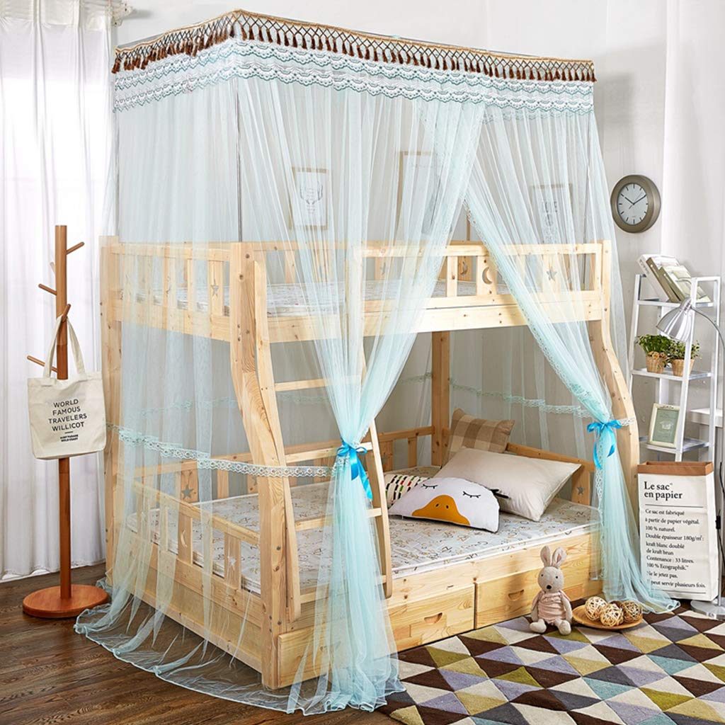 Elegant Baby Bed Mosquito Net, Pure Color Double Layer Bed Canopy Netting Curtains Insect Protection for Summer Room Decoration Green