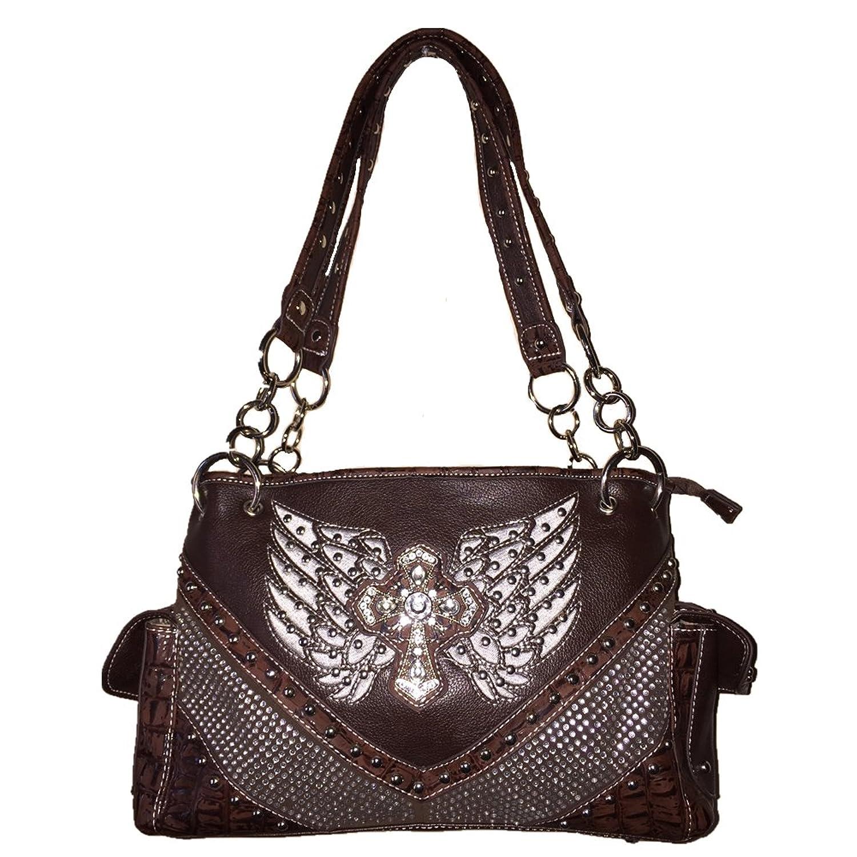 Rhinestone Women's Leather Handbag with Cross Design 8527 in Brown, Coffee and Wine