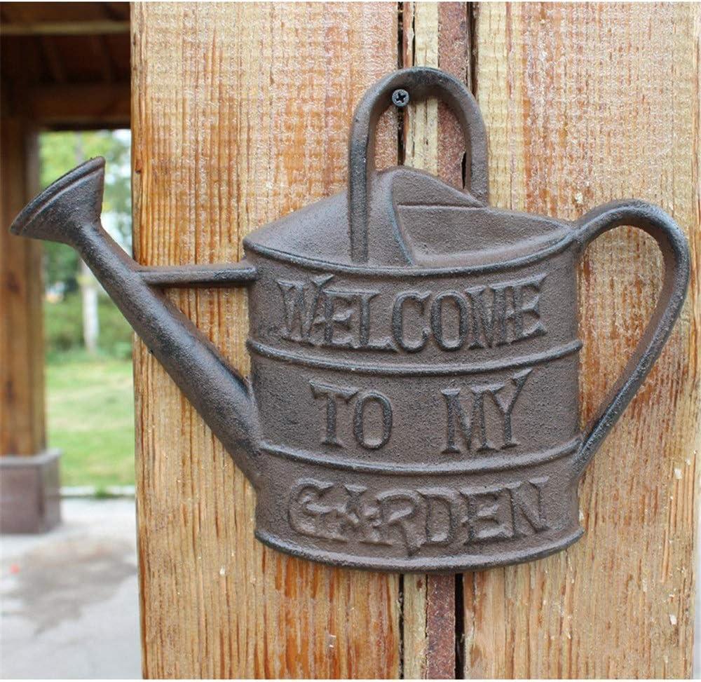 QERNTPEY-Home Welcome Sign Bienvenue Kettle Shape Metal Welcome Plaque Sign Rustic Cast Iron Wall Decor Art Welcome Plaque for Front Porch Front Door Decor (Color : C2, Size : 28.3x21.5cm)
