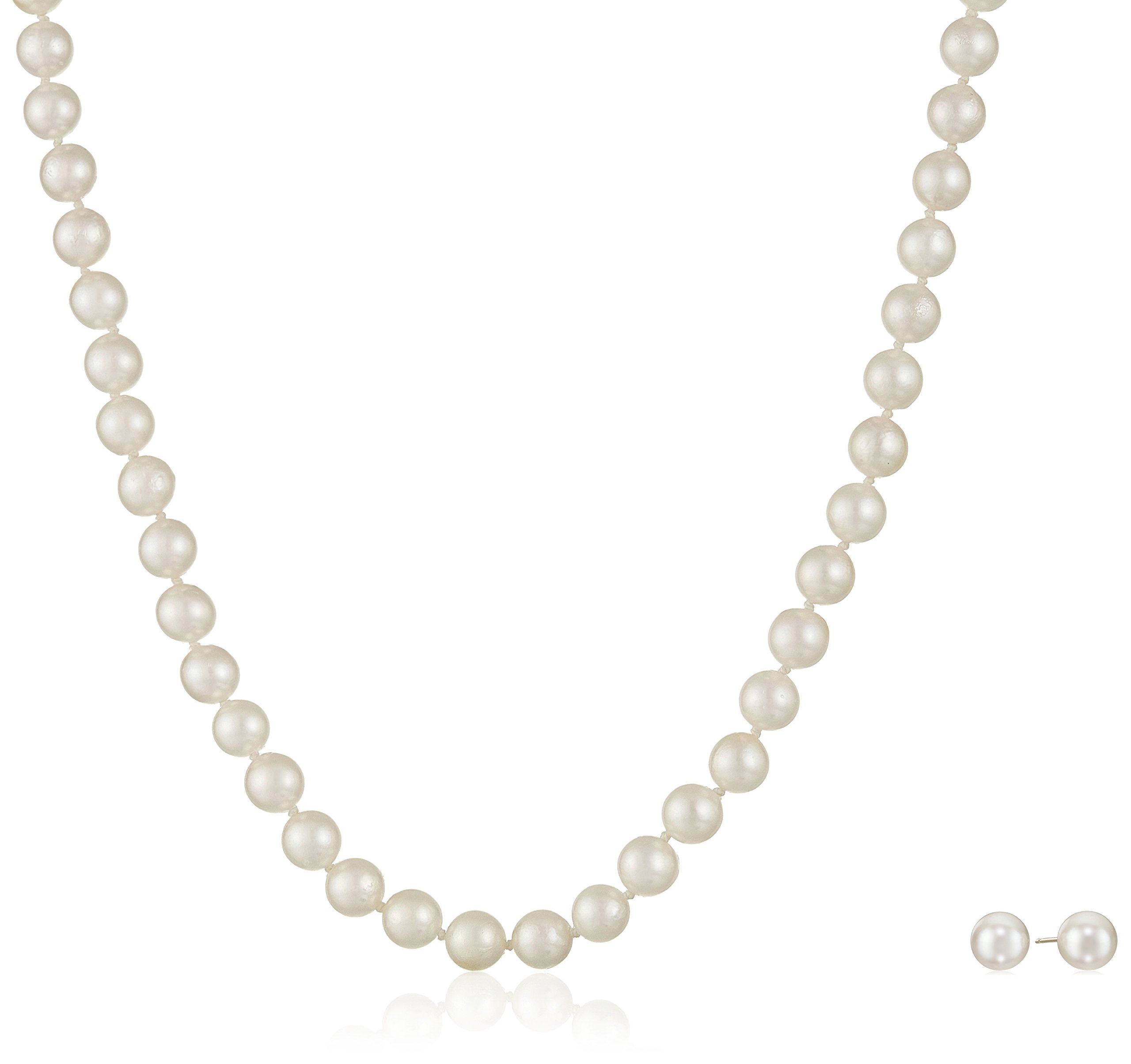 14k Yellow Gold Akoya Cultured Pearl Necklace and Stud Earring Set (6.5-7mm)