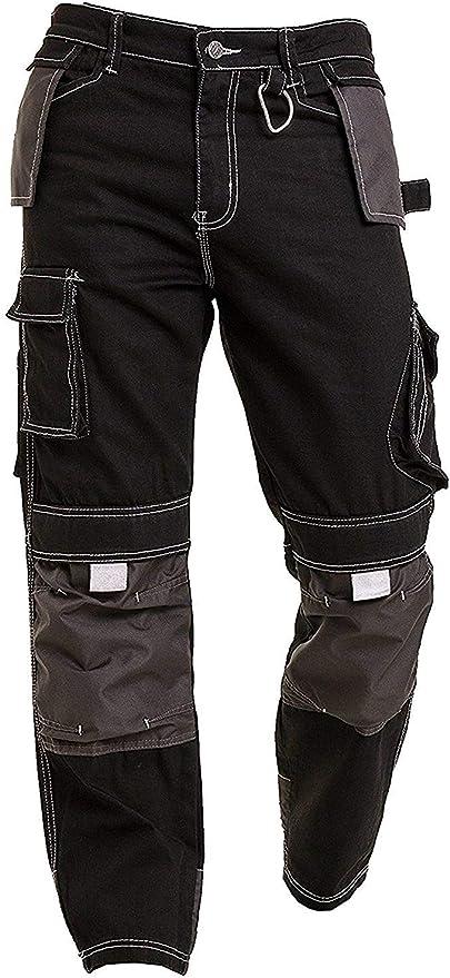 Cargo Azione Pantaloni da Lavoro Tasche con Zip Ginocchiera Tasche