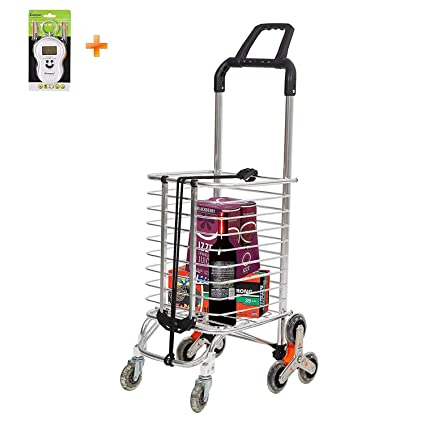 836abe9bdbe0 Lucky Tree Folding Shopping Cart Stair Climbing Cart Collapsible Portable  Grocery Utility Dolly Hand Cart with Rolling Wheels, Holds Up to 110 lbs