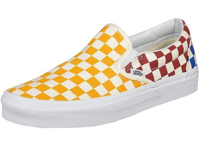 Vans Classic Slip-on Canvas Low-Top Unisex-Erwachsene Gelb Rot Blau Weiß Kariert