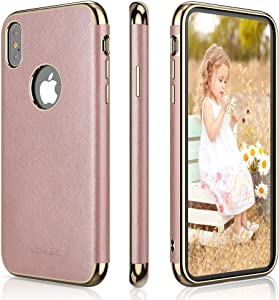 LOHASIC for iPhone Xs & iPhone X Case, Slim Luxury Leather Pretty Girly Pink Cover Flexible Soft Grip Non-Slip Full Protective Phone Cases Compatible with iPhone Xs X 10 5.8