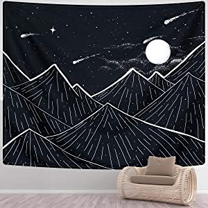 SENYYI Mountain Tapestry Wall Hanging Black and White Art Tapestry Moon Stars Tapestry Starry Night Sky Home Decor for Room (51.2 x 59.1 inches)