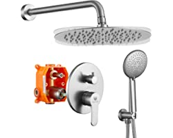 """Brushed Nickel Shower System, Wall Mounted Shower Faucet Set with High Pressure 10"""" Stainless Steel Rain Shower head and 5-Se"""