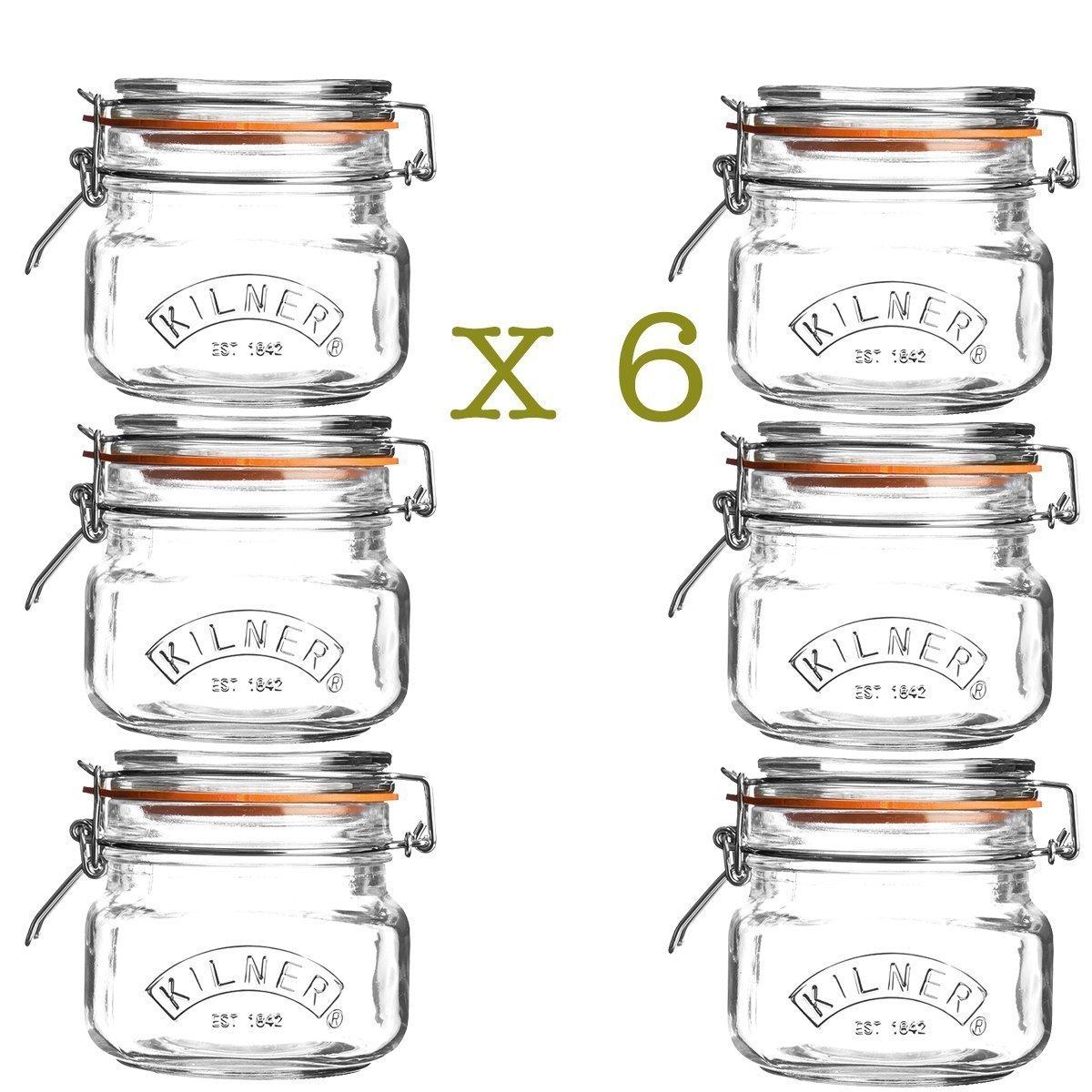 6 x Kilner Square 0.5 Litre Airtight Clip Top Preserve Jars 0025.510