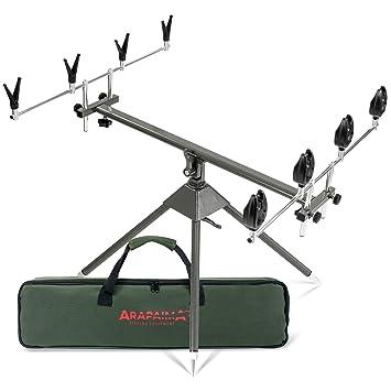 Caña de pescar soporte con cojines y alarmas Set 4 way ...
