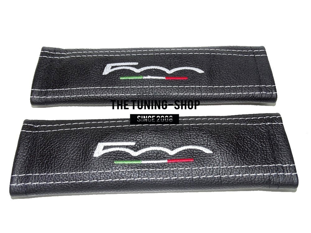 2 x Seat Belt Covers Pads Black Leather 500 Italy White Embroidery for Fiat
