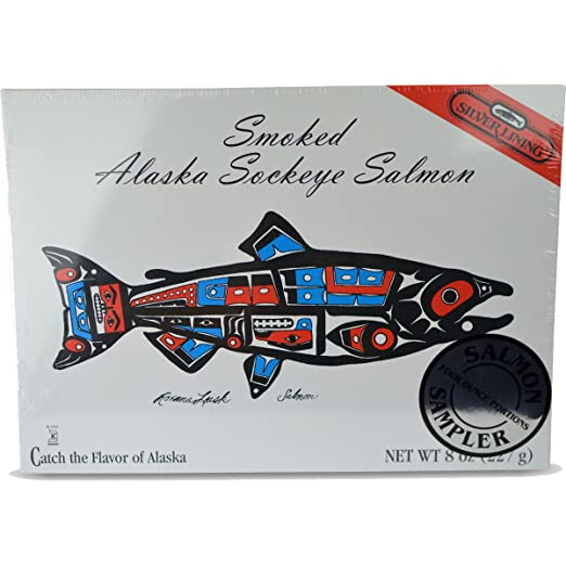 Silver Lining Smoked Silver Alaska Sockeye Salmon - Net Weight 8 oz -  Kosher Chof-K - Separated into