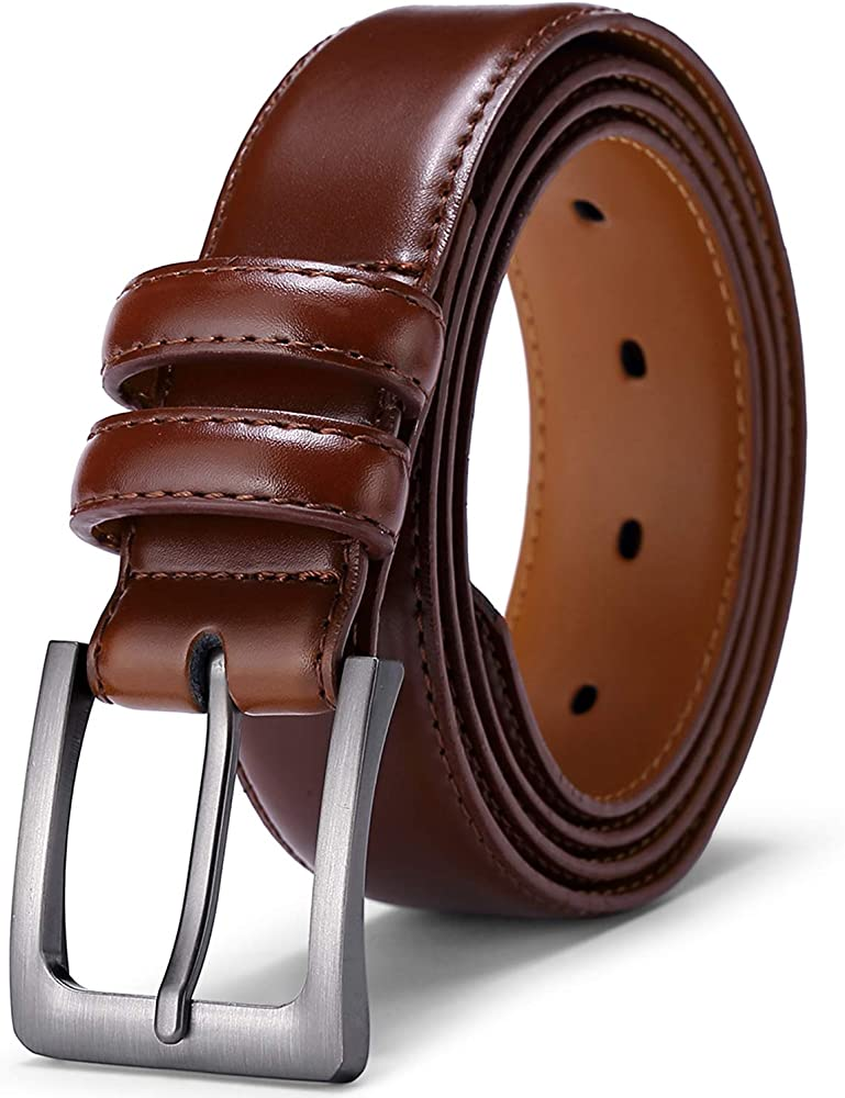 """New Mens Brown Stitched Jeans Buckle 1.5/"""" Solid Stylish Design Leather Belt"""