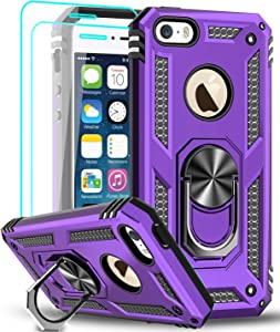 LeYi iPhone se Case (2016), iPhone 5s Case, iPhone 5 Case, Military Grade Armor Full-Body Hybrid Dual Layer Phone Cover Case with 360 Degree Rotating Holder Kickstand for iPhone 5/5s/se, Purple