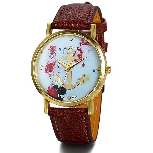 JewelryWe Vintage Retro reloj de pulsera para mujer basel-style Anchor flores piel reloj de