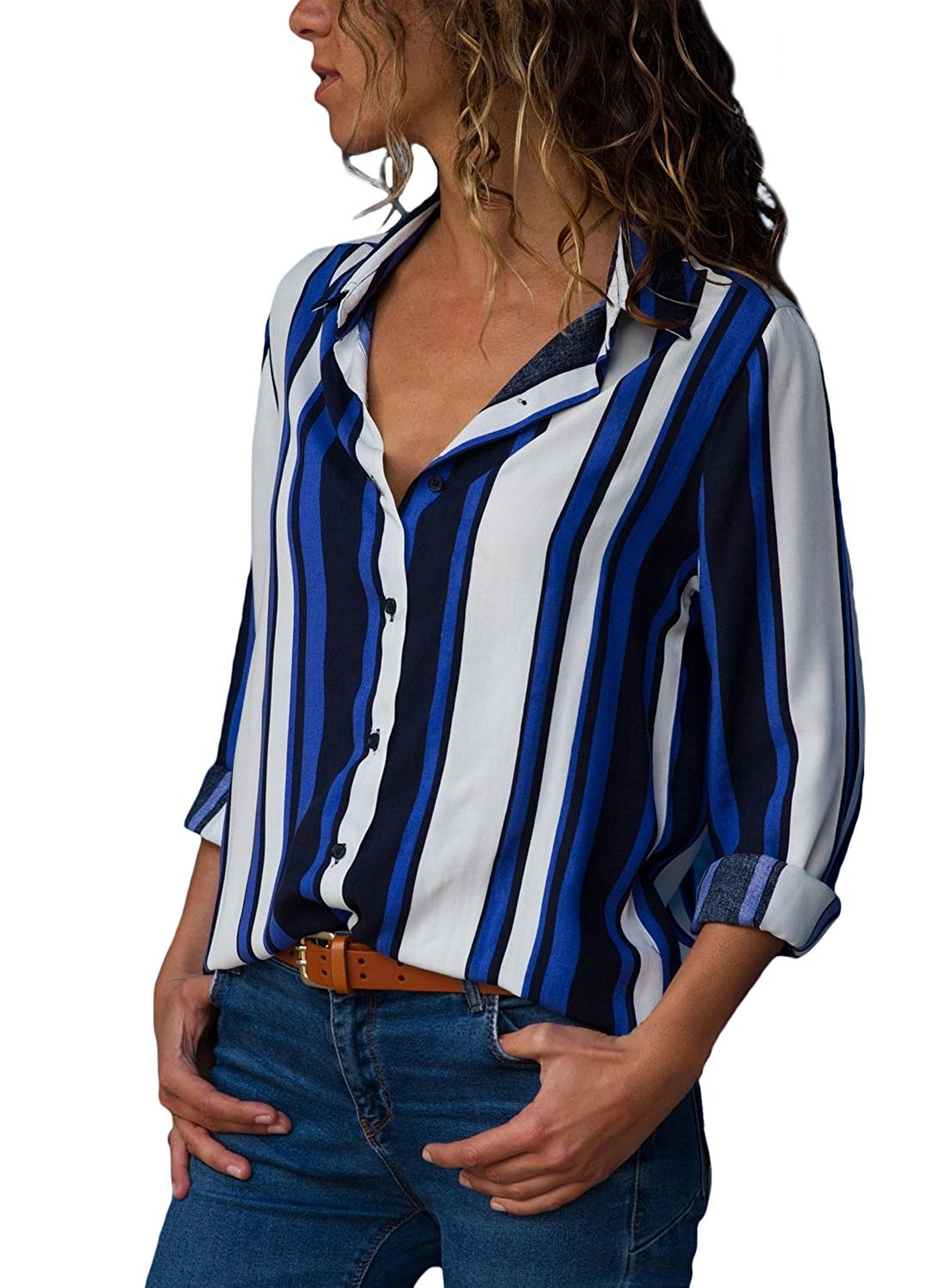 VIENJOY Womens Plus Size Casual Ladies V Neck Button Down Color Block Long Sleeve Striped Shirts Blouse Top Blue X-Large