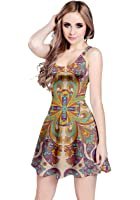 CowCow Womens Paisley Damask Floral Flowers Bohemia Sleeveless Dress, XS-5XL