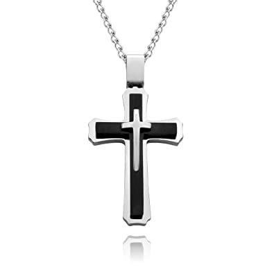 Men's Large Gothic Black Cross Necklace with 24 Inch Curb Chain & Gift Box asdwZm6Zk3