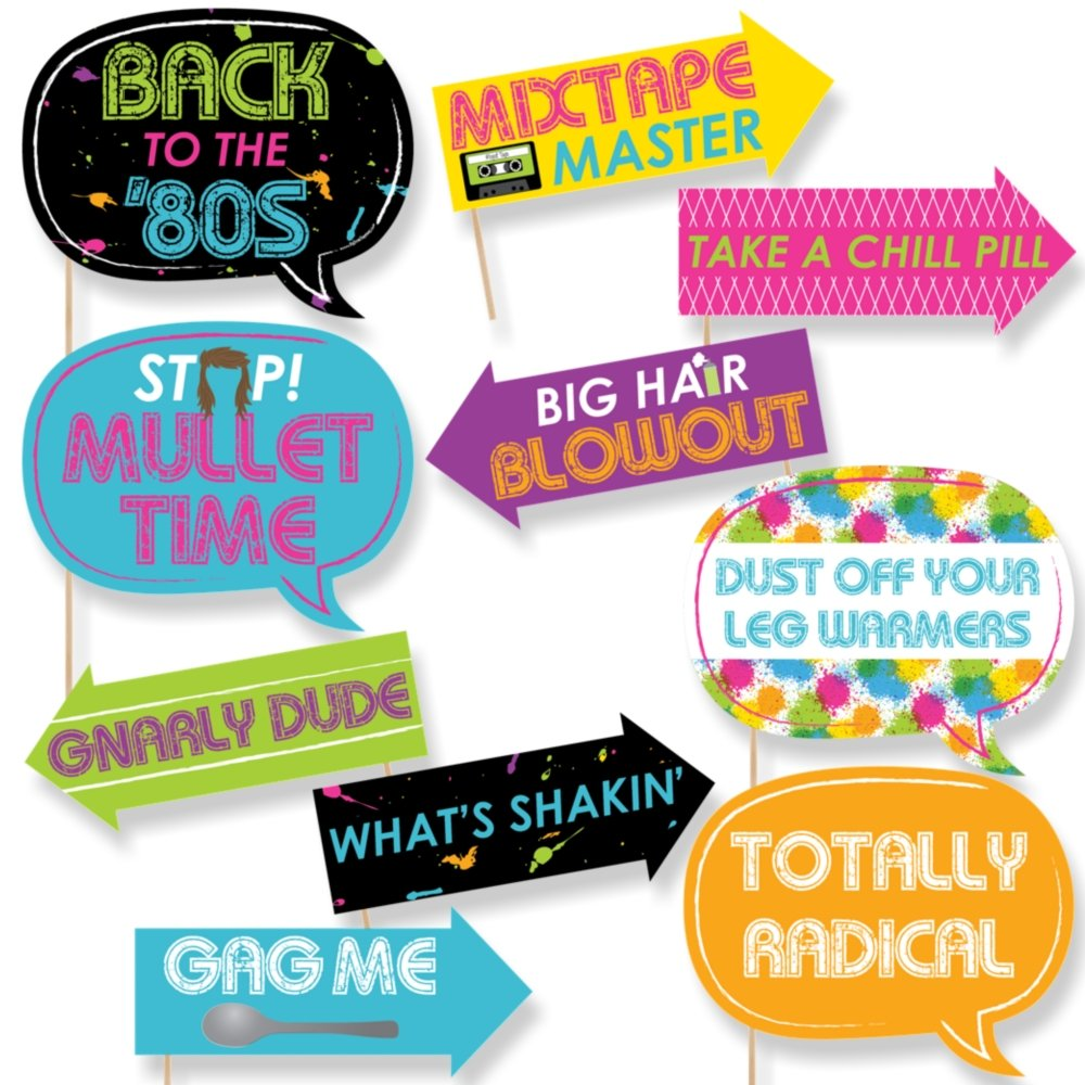 Funny 80's Retro - Photo Booth Props Kit - 10 Piece by Big Dot of Happiness