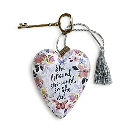 1b58fe9ac841 Amazon.com  DEMDACO She Believed She Could Floral Motif 4 x 3 Heart Shaped  Resin Keepsake Decoration  Home   Kitchen