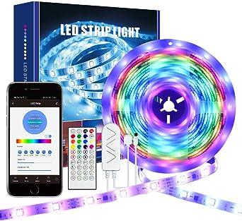 Oferta amazon: Hangrow Led Tira de Luz de Silicona Luces Decorativas de Colores, Control de App, Luz Cambia Con Musica, 5 M 5050 RGB 150 Leds Impermeable IP20 Para Decoración Hogareña Concierto De Bar
