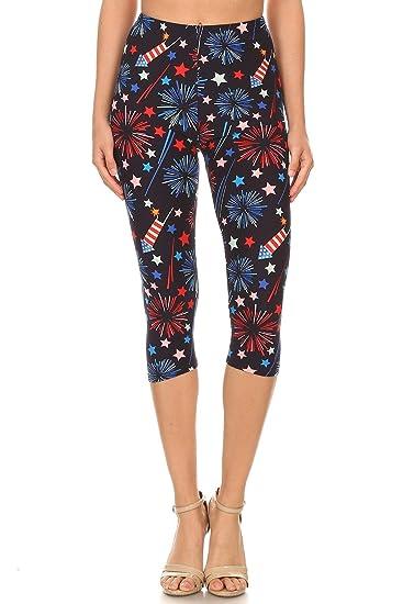 89415c586db5f iZZYZX Womens Regular 4th of July Fireworks American Flag Printed Cropped  Capri Legging