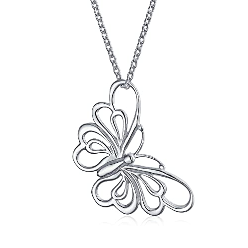 Amazoncom Large Open Butterfly Necklace Cut Out Dangling Pendant