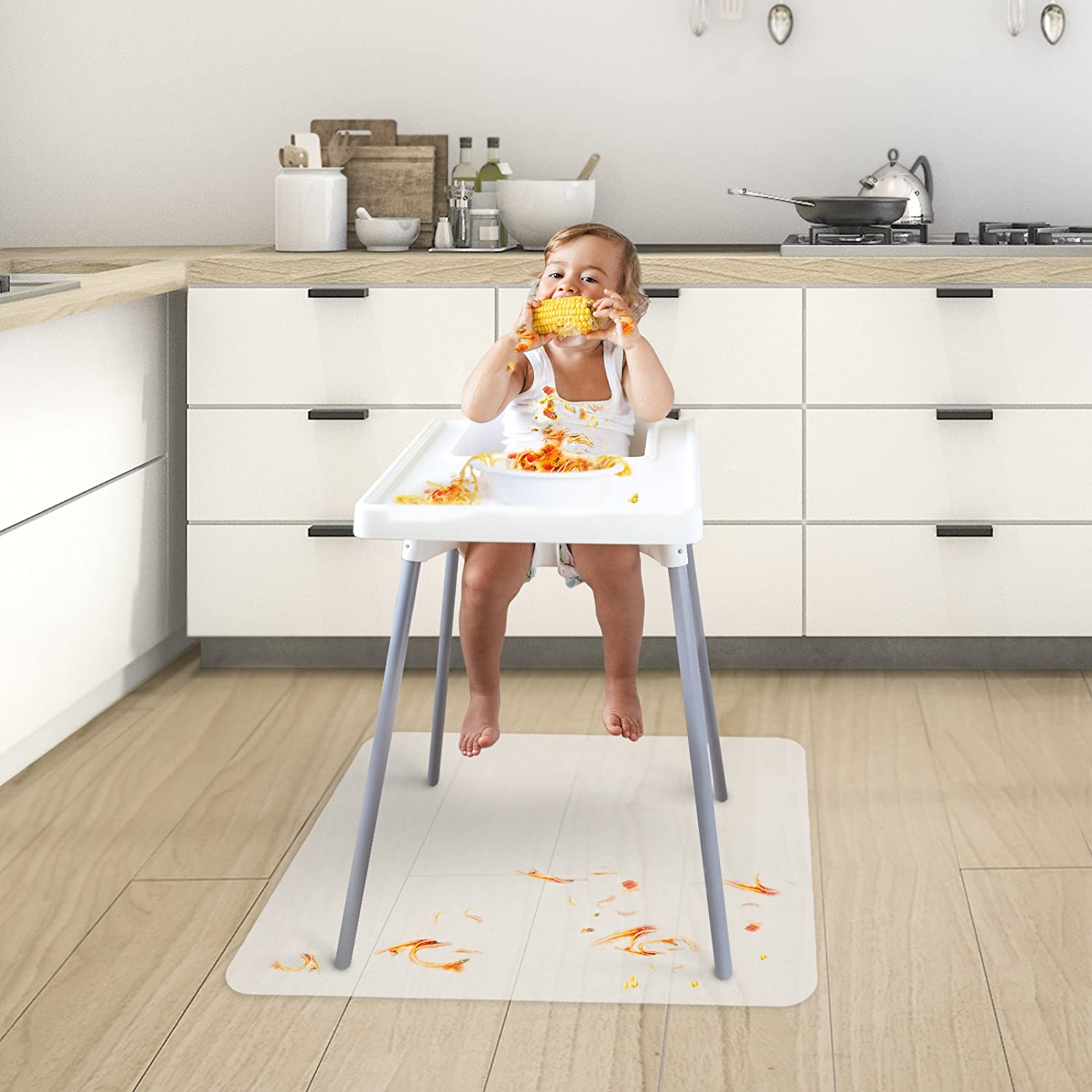 Chair Mat for Baby High Chair | Opaque Child Floor, Feeding and Play Mat | BPA, Phthalate and Odor Free |36' x 36' Phthalate and Odor Free |36 x 36 Office Marshal 4058171344092