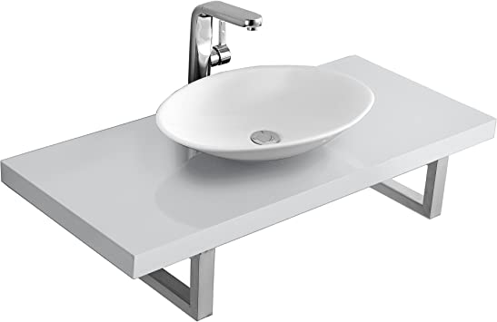 KeraBad Waschtischplatte Waschtischkonsole für Aufsatzbecken Weiss Hochglanz