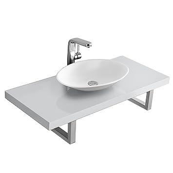 neu.haus] Waschtischplatte Waschtischkonsole mit Keramik ... | {Waschtischplatte für aufsatzwaschbecken 8}