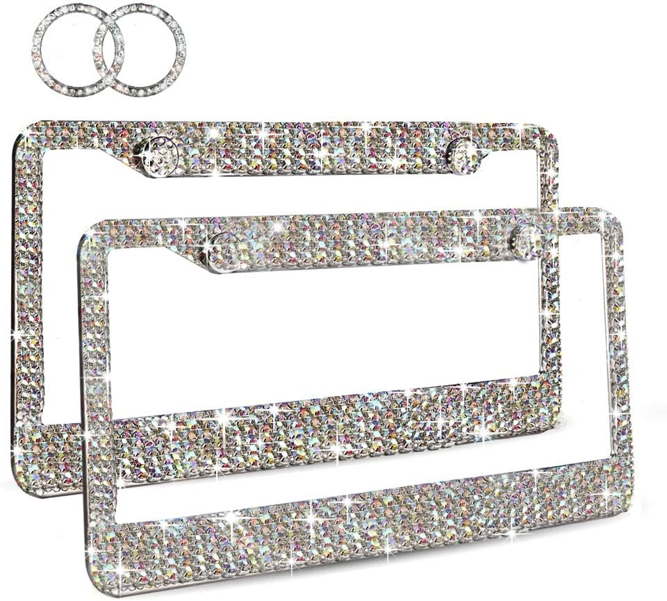 Ablawnct Rainbow Bling License Plate Frame, Luxury Handcrafted Car Frame Plate for Women Girls Multi-Colored Rhinestone,with Ignition Button Unique Gift Idea