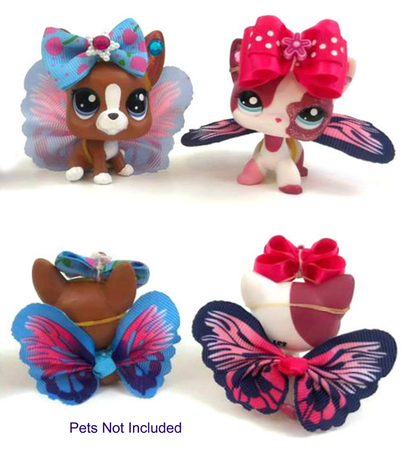 Littlest Pet Shop Accessories LPS 6 Piece Lot 2 Wings, 2 Bows, 2 Sets Of Earrings