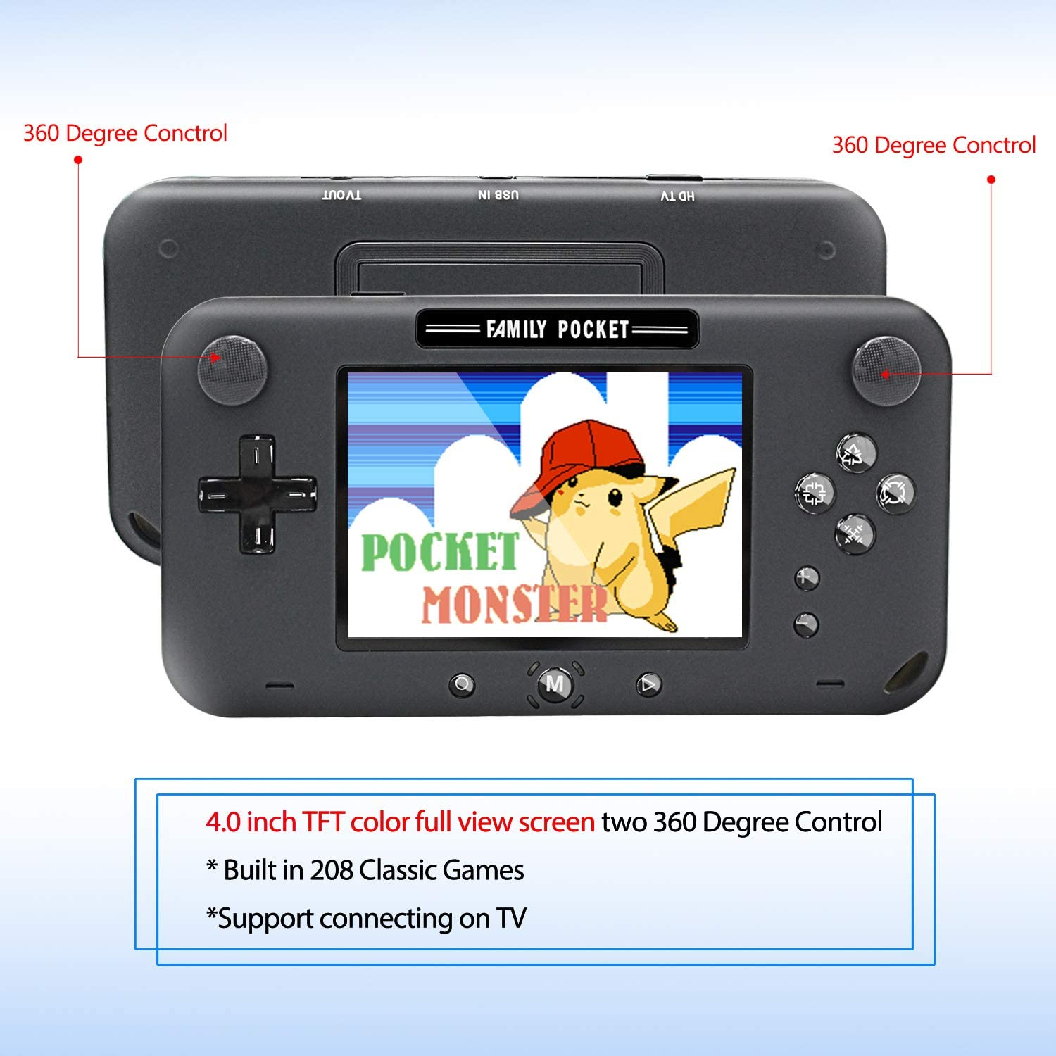 Black Portable Game Player Built-in 208 Classic Games 4 Inch Retro Gaming System EASEGMER Handheld Game Console Best Gift for Kids and Adults Support TV//AV 12 Bit Rechargeable Video Game Console